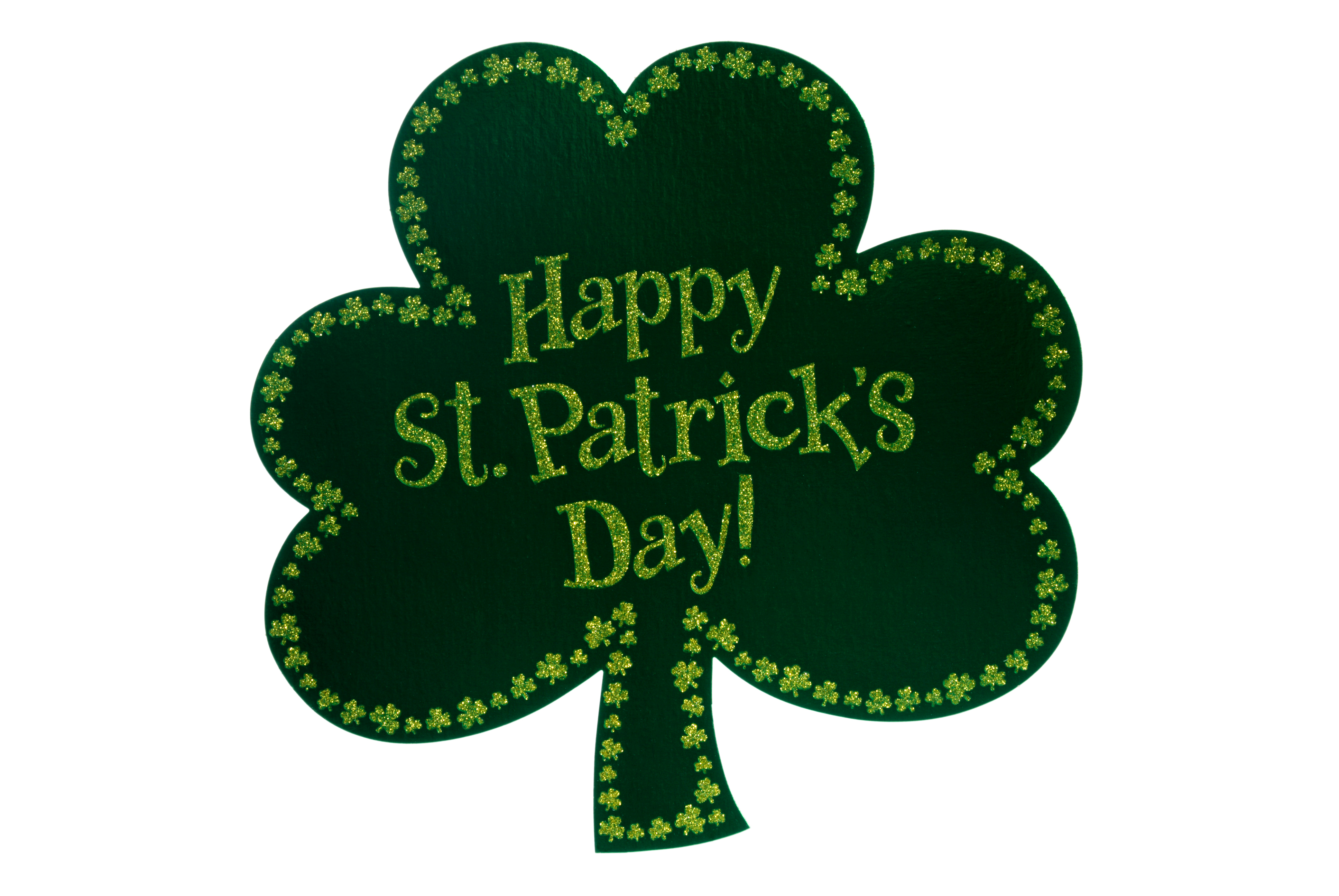 a lucky green shamrock with the words Happy St. Patricks Day imprinted on it.